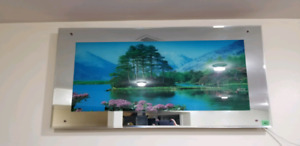 Glass picture frame with light and relaxing sound