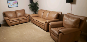 3 piece beige real leather couches