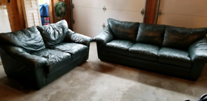 two piece leather couch set