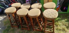 8 tall wooden pub /bar stools