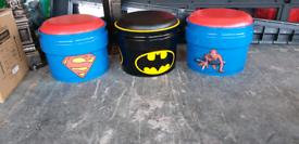 Batman superman spiderman toy boxes storage bin seats