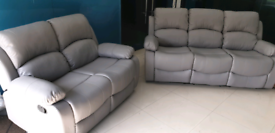 Ex display Grey 3+2 seater bounded leather sofa set free local deliver