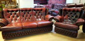 Genuine leather ox blood red chesterfield high back armchair and 3 set