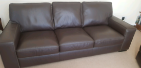Large, brown 3 seater leather sofa & foot stool.