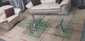 Swivel Glass top coffee table  & 1 side table