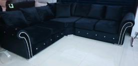 Black Velvet diamonte Corner Sofa New Free local delivery