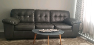 Grey Leather Sofa & Loveseat  (WILL SEPARATE)