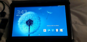 Samsung tablet loaded with music charts