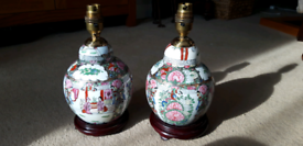 Pair of Vintage Chinese Canton Style Lamps