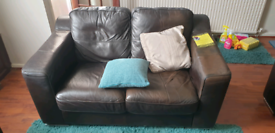Brown leather sofas 2 + 3 seaters