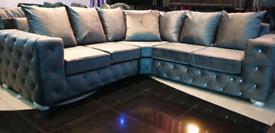 Grey Plush Velvet diamonte Corner Sofa New Free local delivery
