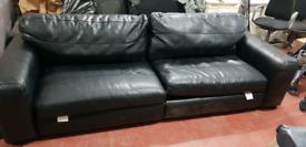 Leather sofa black 4/5 seater