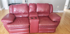 Leather Recliner Couch and love Seat