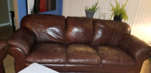 Leather Couch loveseat and chair