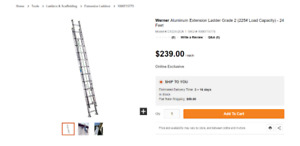 24'  225lbs extension ladder