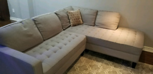 Grey linen L shaped couch