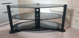 Gloss Black & Silver 3 tier Glass TV Stand
