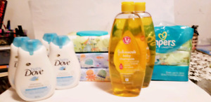 Baby and mama bath products. Pantene.johnsons.dove.pampers.