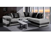 Luxury Fabric Corner Sofa In Grey & Black With a Footstool