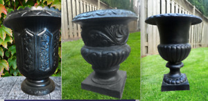 Variety Outdoor Antique CAST IRON URNS Garden Planters  Bench
