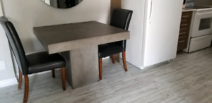 Indoor or Outdoor Concrete Dining Table and Chairs