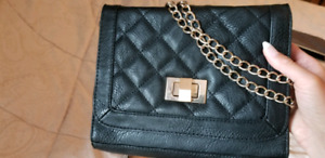 Quilted black evening bag gold chain clutch handbag purse