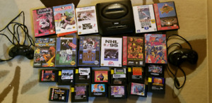 Sega Genesis Console + 2 Controllers and 24 Games
