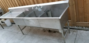 Commercial stainless steel sink with faucet