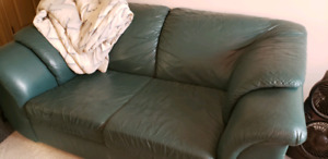 Leather teal couch set