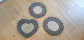 Vintage/Rustic Effect Mirror Set from Dunelm - Circle, Oval, Heart