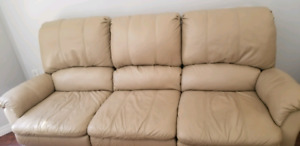 Leather reclining couch set
