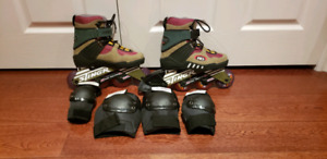 Lady size 6 inline skate with elbow and knee pads