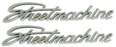 STREETMACHINE Chrome Plated Emblems PAIR Street Machine Mr. Gasket Badge Emblem