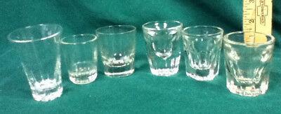 Unique shot glasses 6 clear glass plain shots shooters barware glassware AX9 old