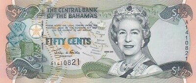 UNC 2001 Bahamas 50 Cents Note, Pick 68