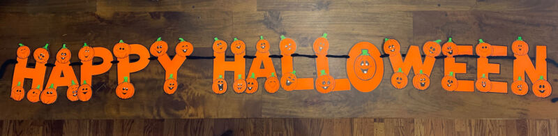 """Long RARE Vintage Paper Happy Halloween Party Sign Banner Decoration 76"""""""