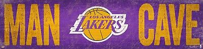 Los Angeles Lakers MAN CAVE Basketball Wood Sign NEW 24