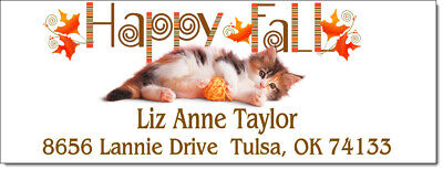 Happy Fall Kitty Cat Design 87 Return Address Labels - Glossy Or Matte