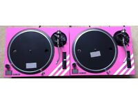 2 X Technics SL-1210 MK2 Turntables With Custom Baby Pink Covers