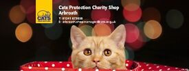 Volunteers required by Cats Protection Charity Shop Arbroath for sorting area and customer service.