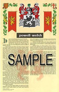 POWELL Armorial Name History - Coat of Arms - Family Crest GIFT! 11x17 - Family Crest Gifts
