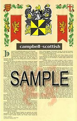 CAMPBELL Armorial Name History - Coat of Arms - Family Crest GIFT! 11x17 - Family Crest Gifts