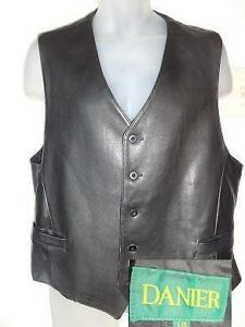 DANIER CANADA LEATHER VEST MENS 44 46 BUTTERSOFT THICK BLACK WAISTCOAT