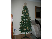Christmas tree. 6 foot artificial xmas tree with all items shown.