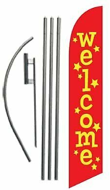 Welcome Advertising Feather Banner Swooper Flag Sign With Flag Pole Kit And...