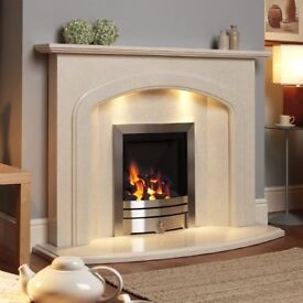 Marble firesurround and electric fire