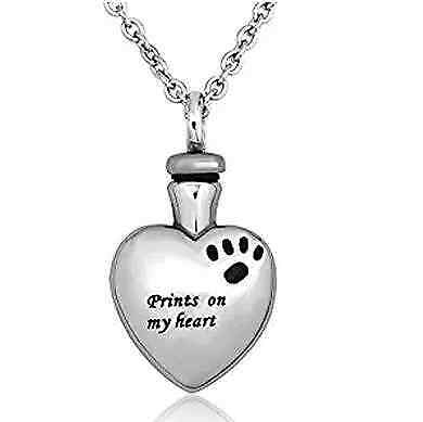 Jewelry Pet Memorial Dog Cat Paw on My Heart Cremation Urn Necklace