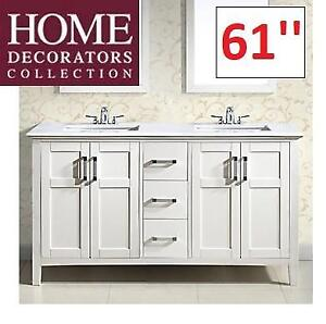 NEW* 61'' DOUBLE BATHROOM VANITY NLWINSTONWH602A 224706359 HOME DECORATORS COLLECTION BAYWIND WHITE