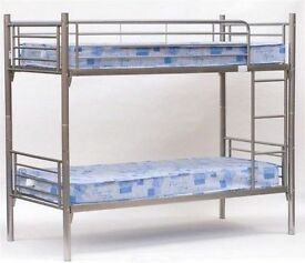 **14-DAY MONEY BACK GUARANTEE!** Metal Bunk Bed with Mattress Options - SAME DAY DELIVERY!