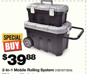 2-in-1 Mobile Rolling tool box set new $30